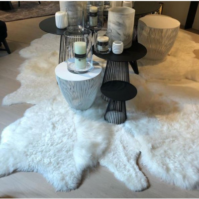 Schafsfell-Teppich-Patchwork   300 x 200 cm   Weiß