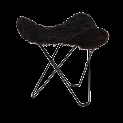 Hocker Isländisches Schaffell Flying Goose | Kurz Schwarz / Schwarzes Stahlgestell