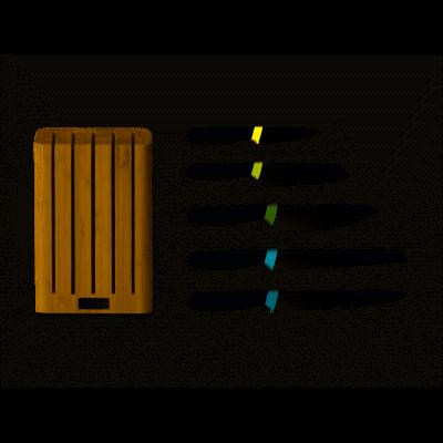 5er-Set Dunkelblaue Messer Elevate mit Block