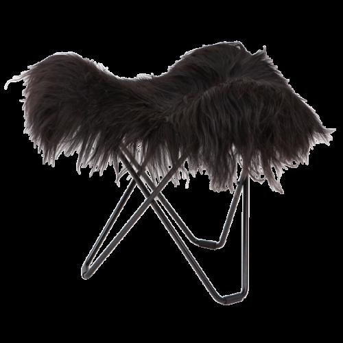 Hocker Isländisches Schaffell Flying Goose   Lang Schwarz / Schwarzes Stahlgestell