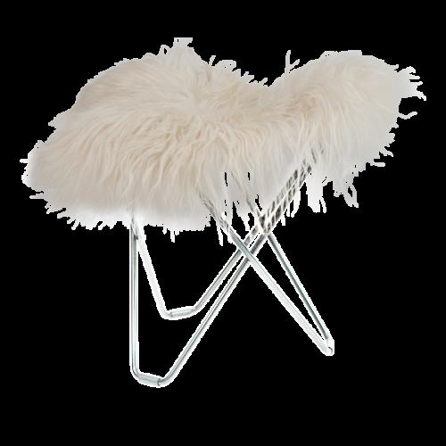 Hocker Isländisches Schaffell Flying Goose | Lang Weiß / Chrom-Stahlgestell