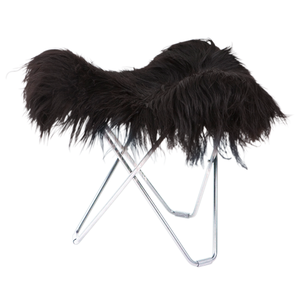 Hocker Isländisches Schaffell Flying Goose | Lang Schwarz / Chrom-Stahlgestell