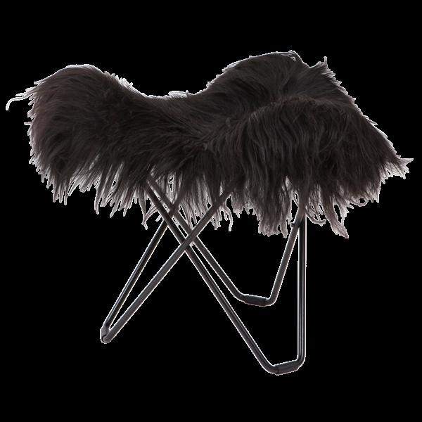 Hocker Isländisches Schaffell Flying Goose | Lang Schwarz / Schwarzes Stahlgestell