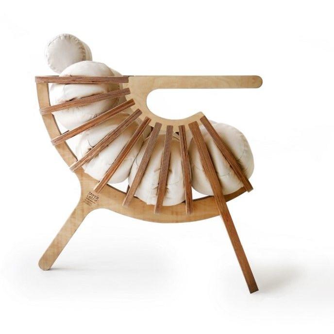 Stuhlschale | Natur + Baumwollkissen