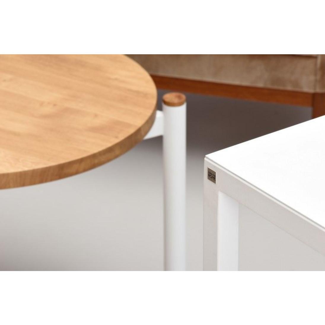 SISTERS Coffee Table Set of 2   White Matt & Oak