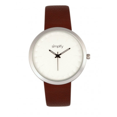 Watch The 6000 | Silver & Brown Leatherette