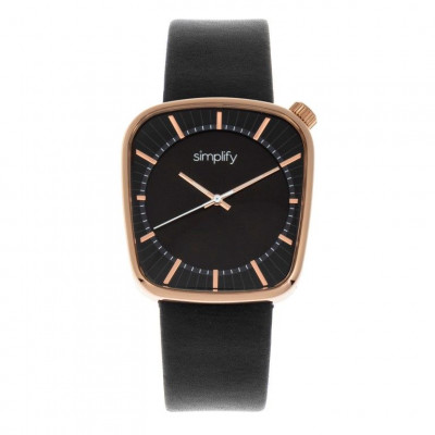 Watch The 6800 | Rose Gold & Black Genuine Leather