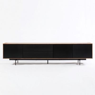 Cabinet 3 Doors and 2 Drawers Siviglia | Matt Black & Dark Walnut