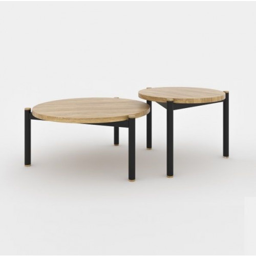 SISTERS Coffee Table Set of 2 | Black Matt & Oak