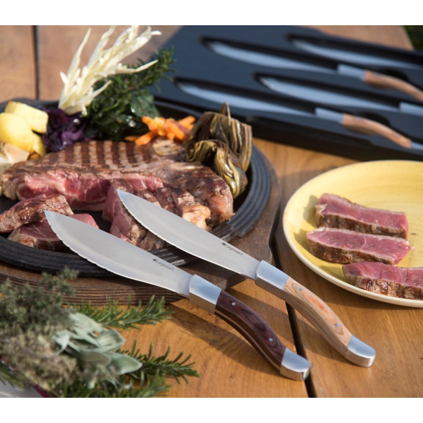 Steakmesser Angus 4er-Set | Helles Holz