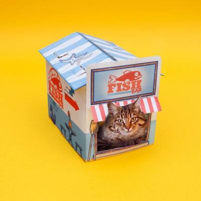 Katzenkiosk aus Karton