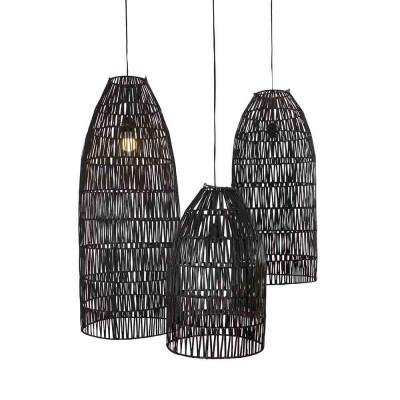 3er-Set Rattan-Lampenschirme Conical | Schwarz