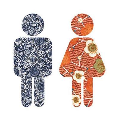 WC-Kinderschild Blau/Terrakotta