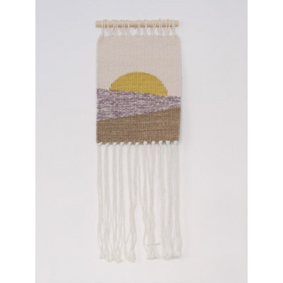 Small Sun no.2 Wall Hanger | White, Yellow, Violet & Brown