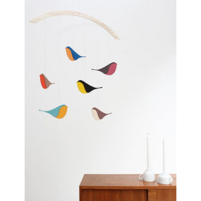 Wooden mobile birds