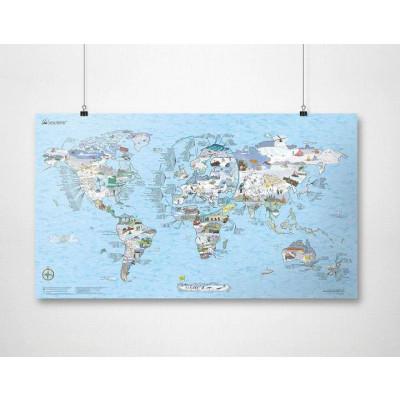 Wiederbeschreibbare Weltkarte   Schneefahrt