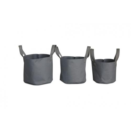 Outdoor Plant Pots Soft Pots Set/3   Grey