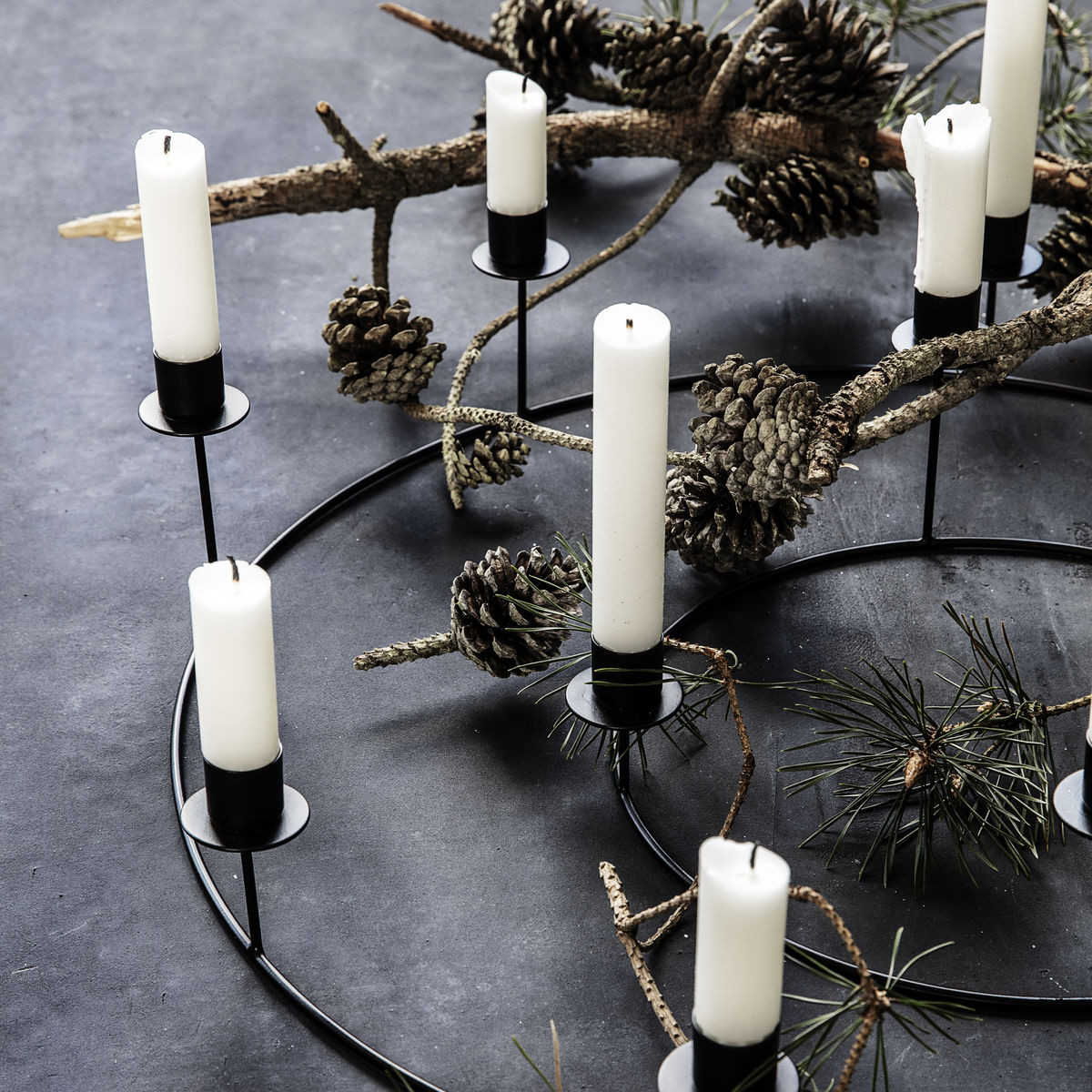 Kerzenständer-Ring   Schwarz