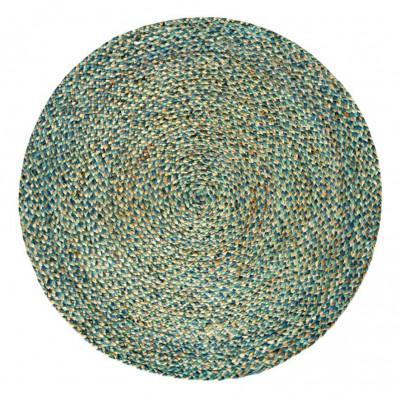 Round Jute Rug Spectrum | Brown/Turquoise