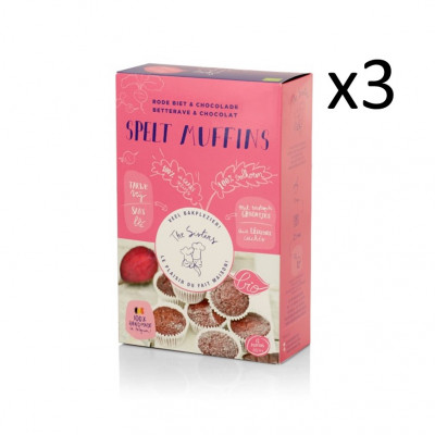 Dinkelmuffins 313 g 3er-Set | Schokolade & Rote Beete