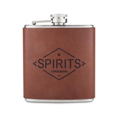 Spirits Genuine Leather Hip Flask