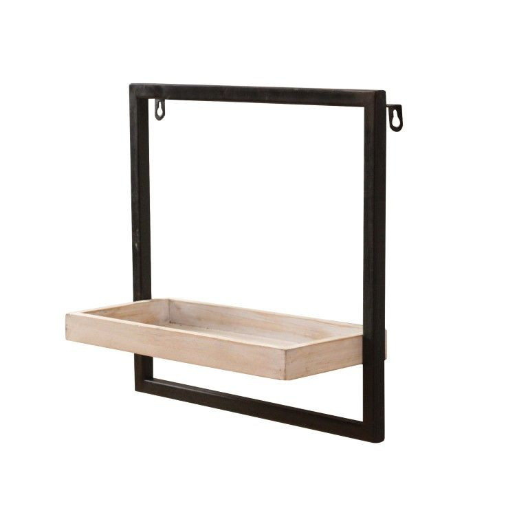 Shelf Spencer L33 cm | Matt Black & Grey Wood