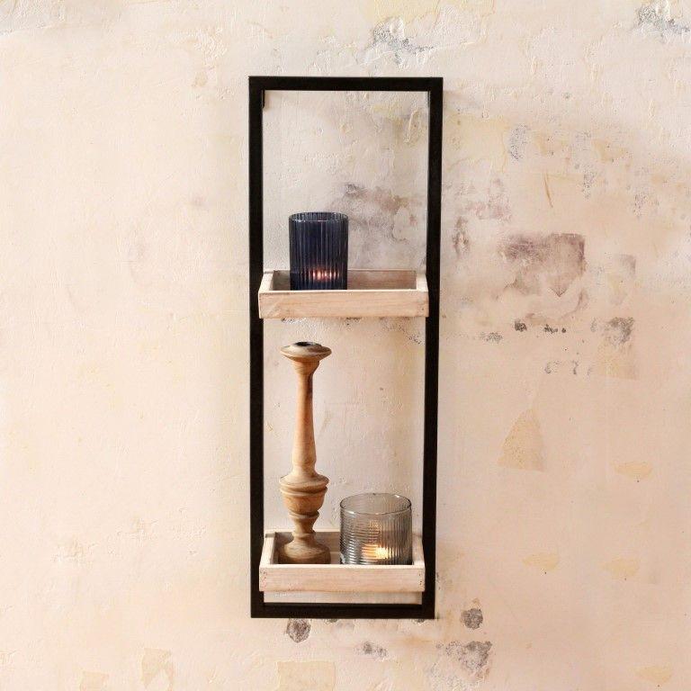 Shelf Spencer H 66 cm | Matt Black & Grey Wood
