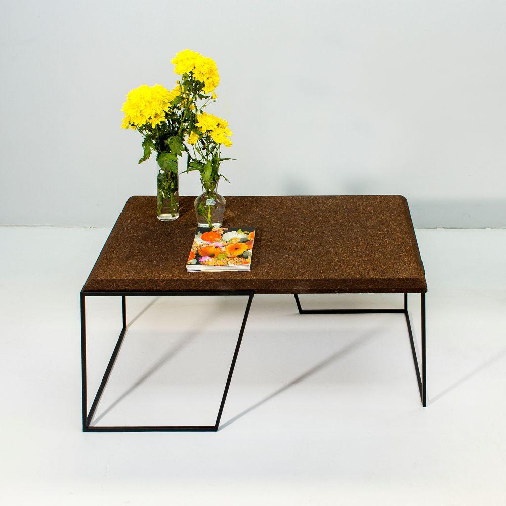 Center Table Grao   Dark Cork & Black Legs