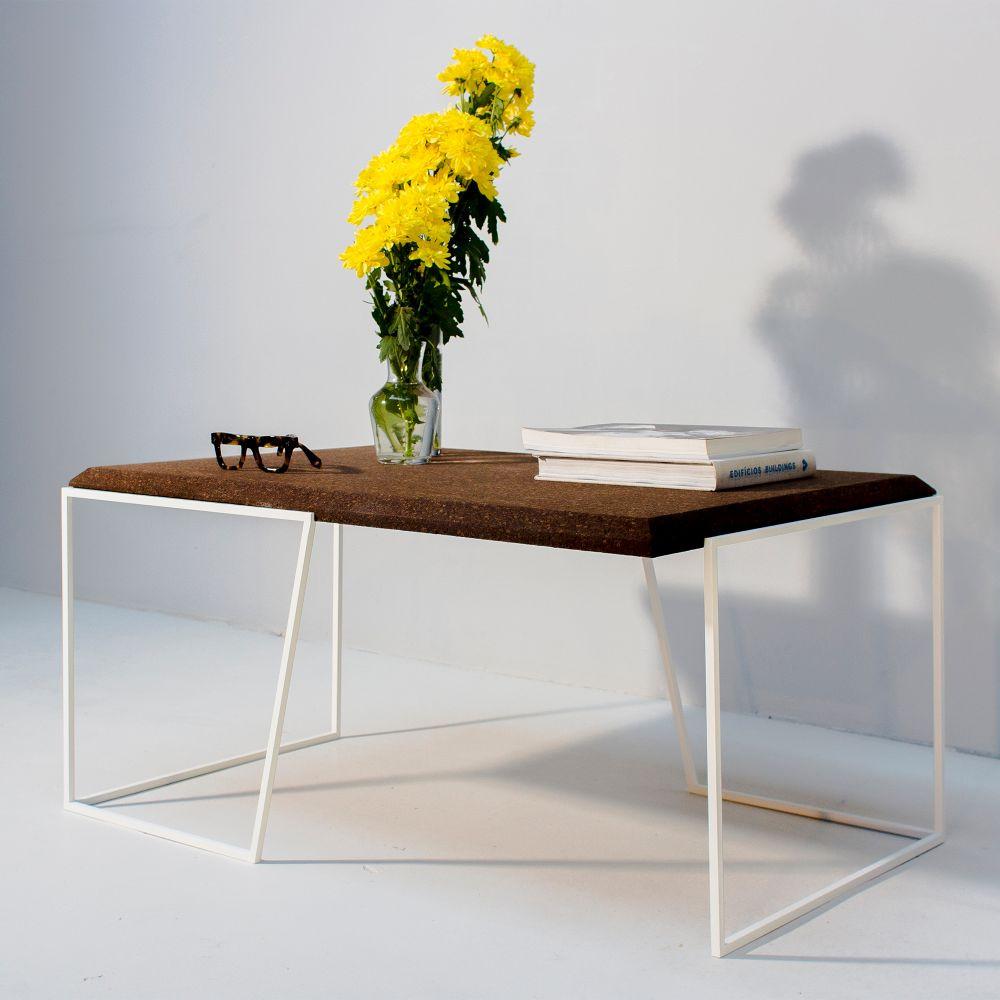 Center Table Grao | Dark Cork & White Legs