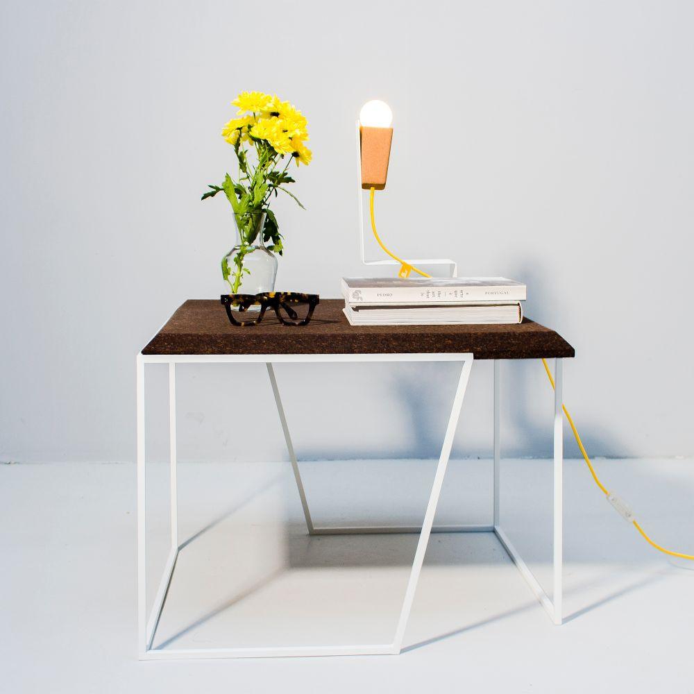 Coffee Table Grao | Dark Cork & White Legs