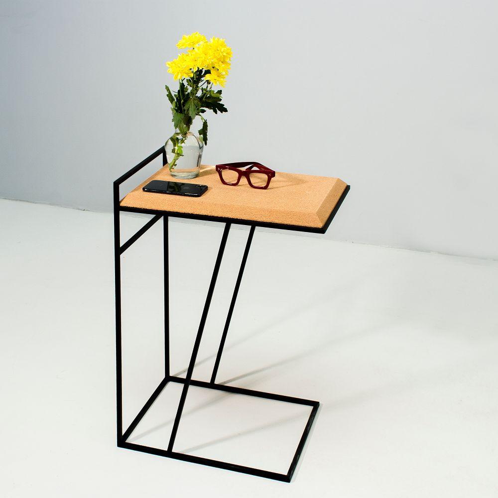 Side Table Grao | Light Cork & Black Legs