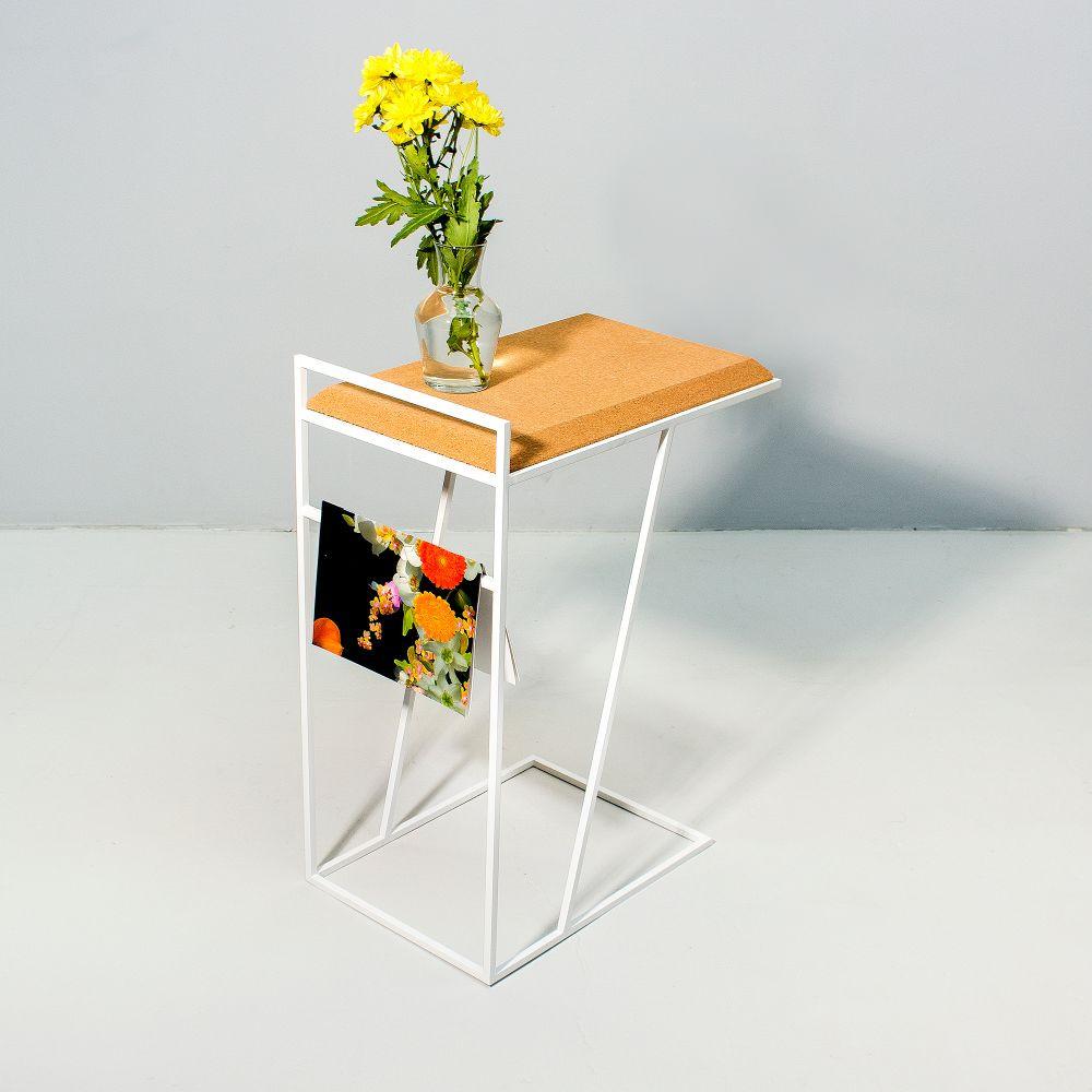 Side Table Grao | Light Cork & White Legs