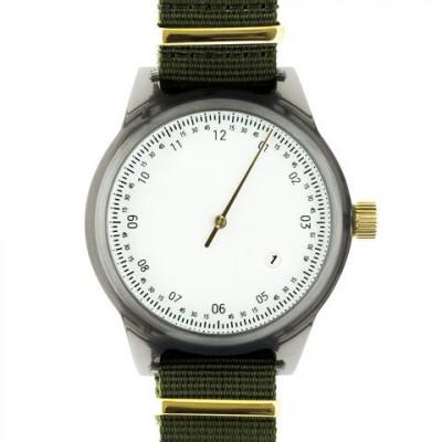 One Hand Minuteman Watch | Grey & Army Green