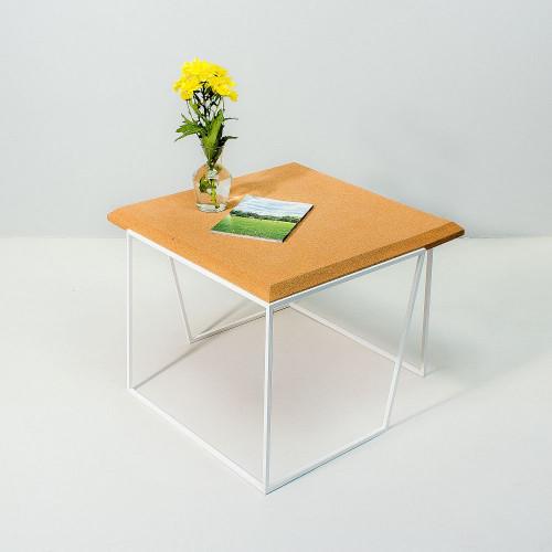 Coffee Table Grao | Light Cork & White Legs