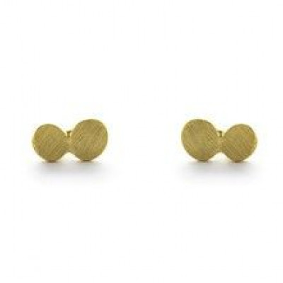 Pair Earrings with 2 Dots   Gold Plated