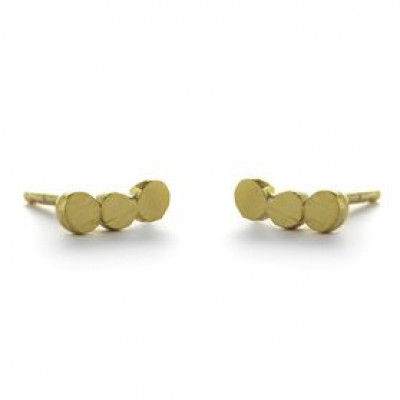 Pair Earrings with 3 Dots   Gold Plated