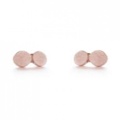 Pair Earrings with 2 Dots   Red Plated