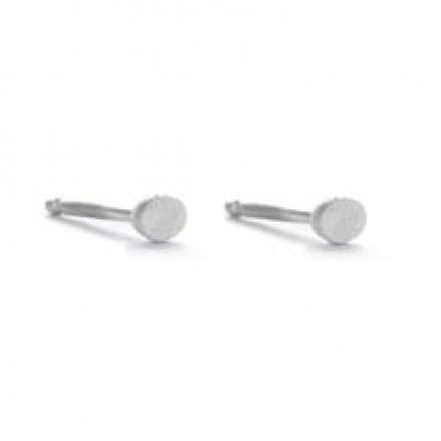Pair Earrings with 1 Dot   Silver