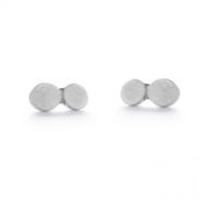 Pair Earrings with 2 Dots   Silver