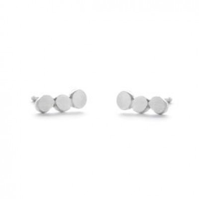 Pair Earrings with 3 Dots   Silver