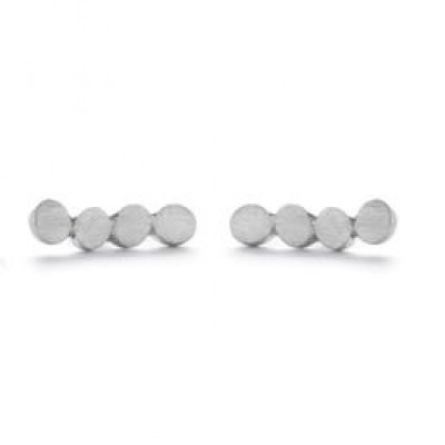 Pair Earrings with 4 Dots   Silver