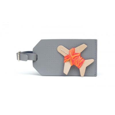 Gepäckanhänger sticken | Grau + Orange & Korallengarn