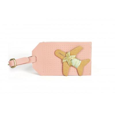 Gepäckanhänger sticken | Rosa + Gold- und Mintfaden