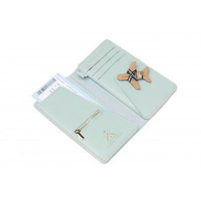 Stitch Travel Wallet   Minze + Marine & Goldfäden