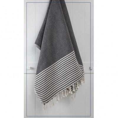 Handtuch gestreift   Schwarz
