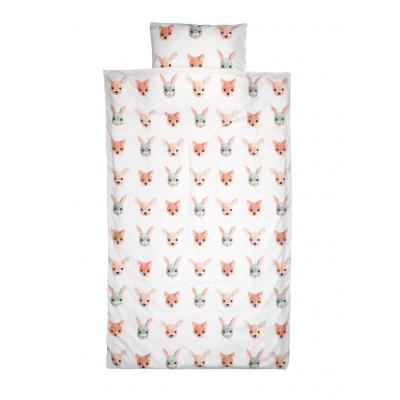 Bettdeckenbezug 100 x 35 cm | Waldtiere weiß