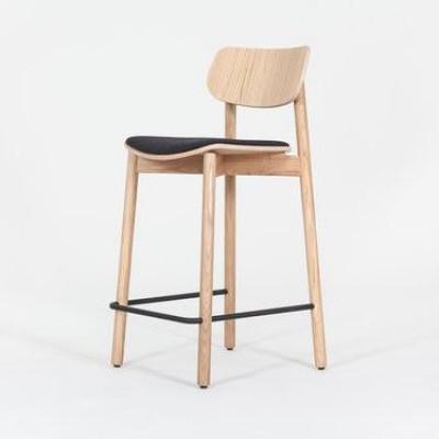 Barhocker Otis Eiche & Sitzpolster aus Wolle | Schwarz