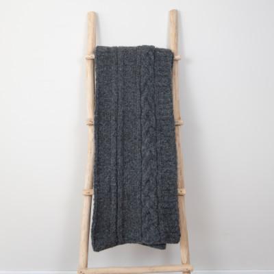 Frida Plaid 150 x 163 cm| Alpakawolle dunkelgrau