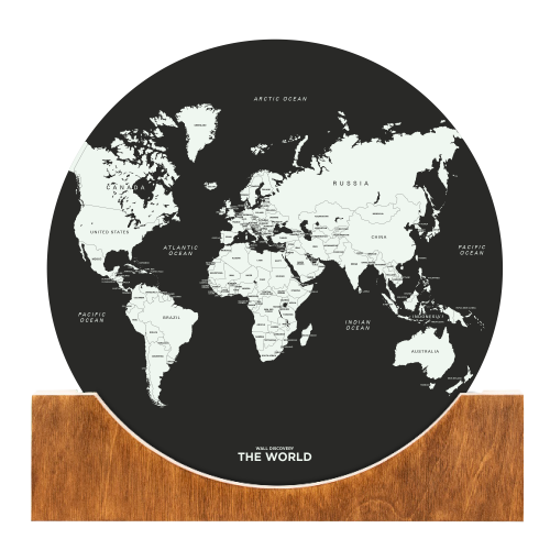 Aufstell-Weltkarte | Schwarz
