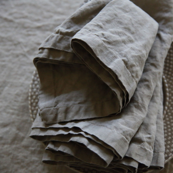 Stone Washed Table Cloth | Taupe